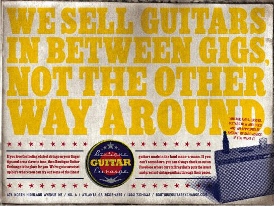 Boutique Guitar Exchange Print Ad -  Musicians First