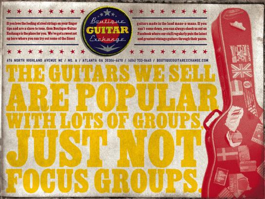 Boutique Guitar Exchange Print Ad -  Focus Groups