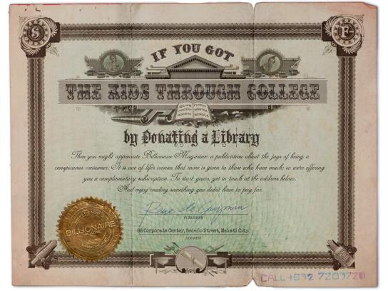 Billionaire Magazine Print Ad -  Library