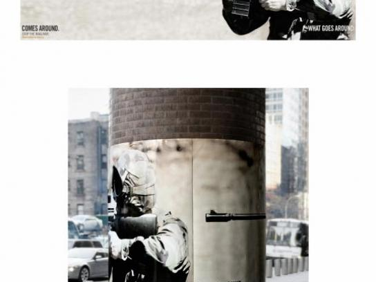 Global Coalition for Peace Outdoor Ad -  Machine gun