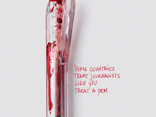 Reporters Without Borders Print Ad -  Bloody