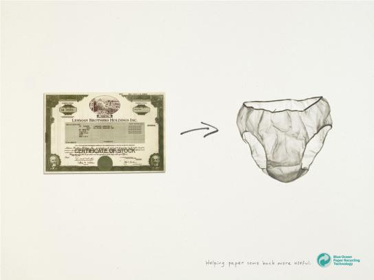 Blue Ocean Print Ad -  Stock certificate