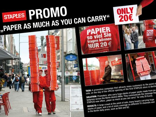 Staples Ambient Ad -  Promo - Paper as much as you can carry