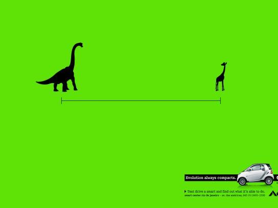 Smart Print Ad -  Evolution always compacts, Brontosaurus