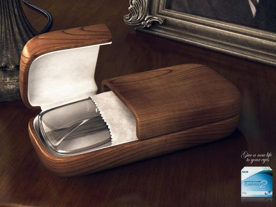 Bausch & Lomb Print Ad -  Coffins Brown Coffin