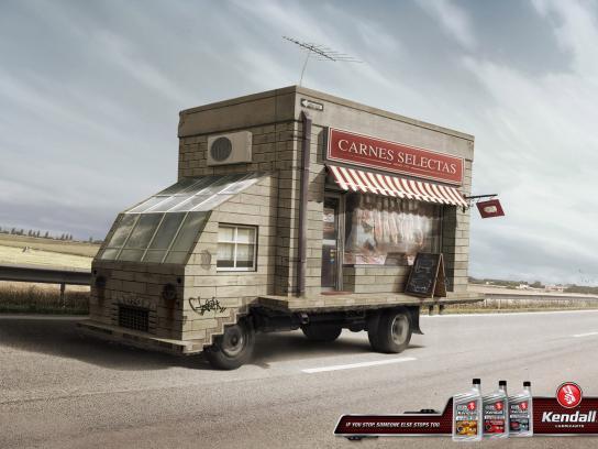Kendall Lubricants Print Ad -  Butchery Truck
