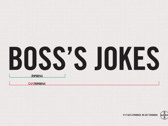 Aspirin Print Ad -  Boss's jokes