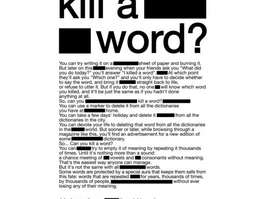 Rolling Stone Print Ad -  Can you kill a word