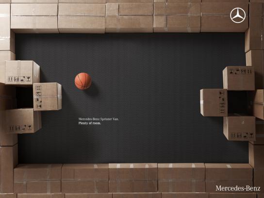 Mercedes Print Ad -  Boxes, Basketball