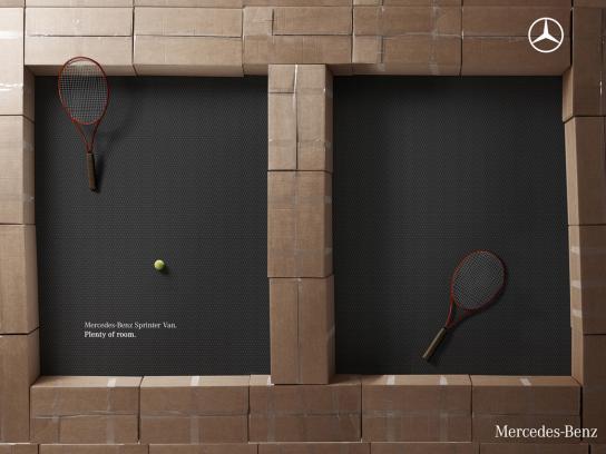 Mercedes Print Ad -  Boxes, Tennis