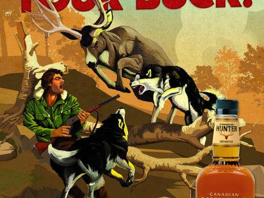 Canadian Hunter Whiskey Outdoor Ad -  X Man's Life, Buck