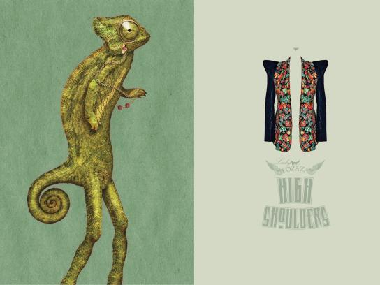 Lady Fozaza Print Ad -  Long Legged Pets, Chameleon