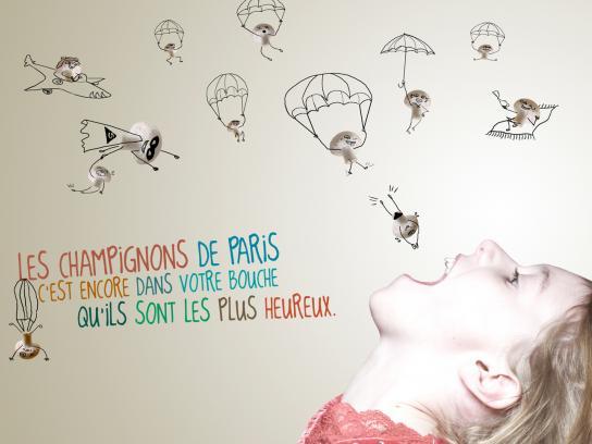 Les Champignons de Paris Print Ad -  Flying