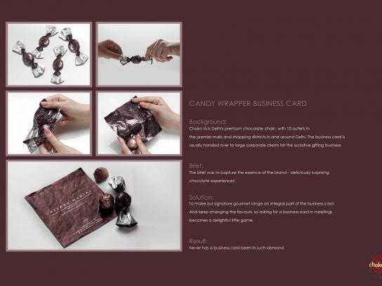 Choko la Direct Ad -  Candy wrapper business card