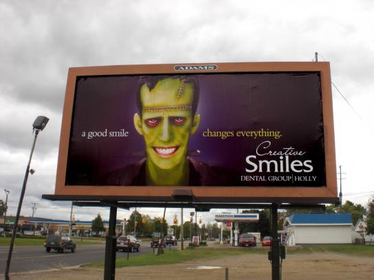 Creative Smiles Dental Group Outdoor Ad -  Frankenstein