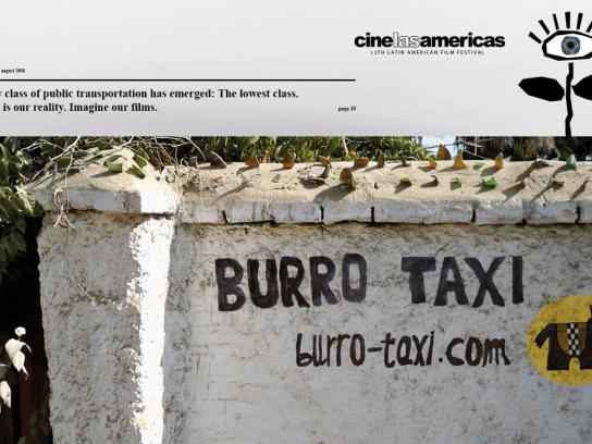 Cine las Américas Print Ad -  Donkey taxi