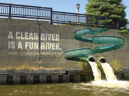 Milwaukee River Keepers Ambient Ad -  A fun river