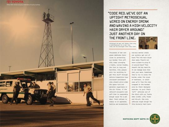 Toyota Print Ad - Toyota 4WD Range, Country Australia Border Security - Nothing Soft Gets In, 2