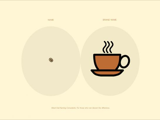 Albert Dali Print Ad -  Name vs Brand Name, Coffee