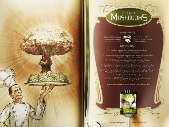 Revista Planeta Print Ad -  Recipes, French Mushrooms