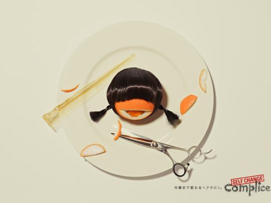 Complice Hair Salon Print Ad -  Orange