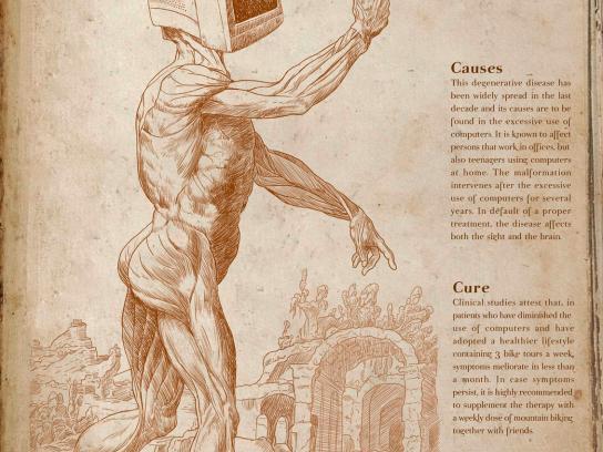 MBike Magazine Print Ad -  Pathology of modern man, Computerosis