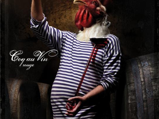 Le Cornichon Print Ad -  Coq au Vin rouge