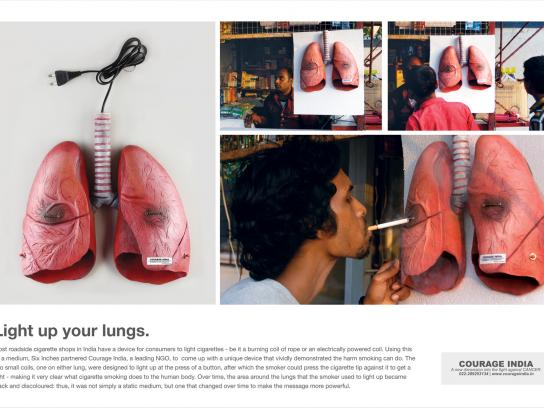 Courage India Ambient Ad -  Light up your lungs
