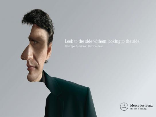 Mercedes Print Ad -  Look to the side, 1