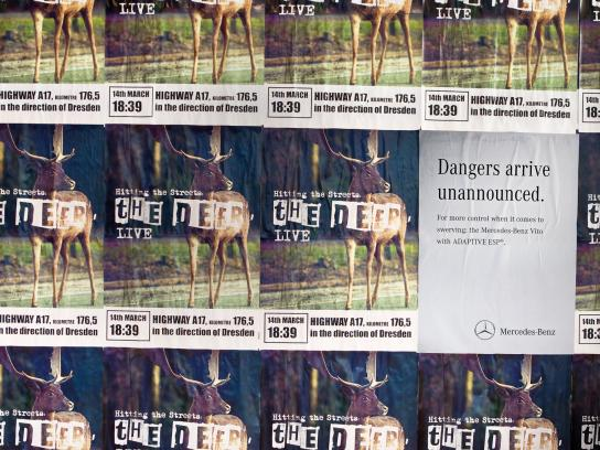 Mercedes Outdoor Ad -  Danger Doesn't Announce Itself, Deer