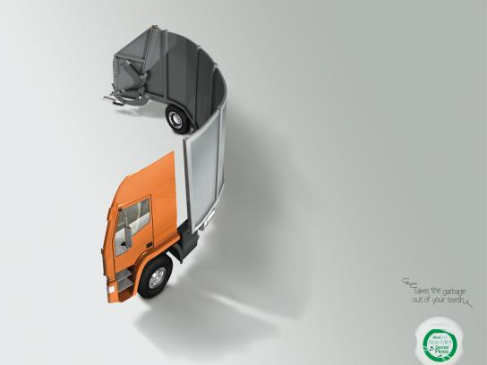 AloeDent Print Ad -  Garbage Trucks, 3