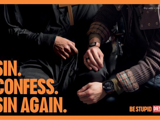 Diesel Outdoor Ad -  Be stupid, Sin. Confess. Sin again.