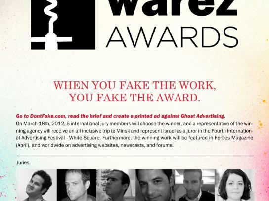 White Square Print Ad -  DontFake.com, The Warez Awards