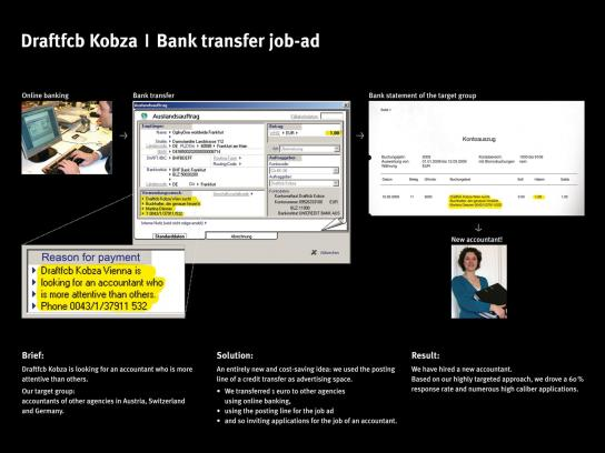 Bank transfer job ad