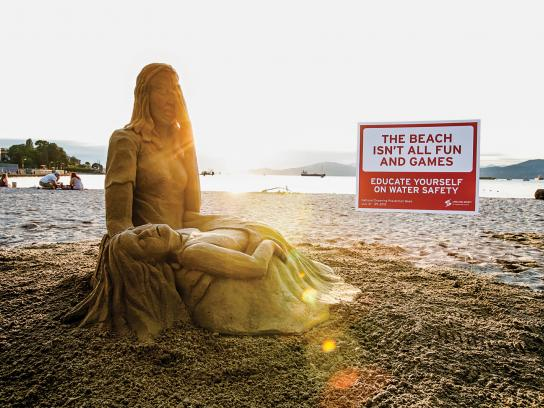 Lifesaving Society Ambient Ad -  Drowning Prevention Sand Sculpture