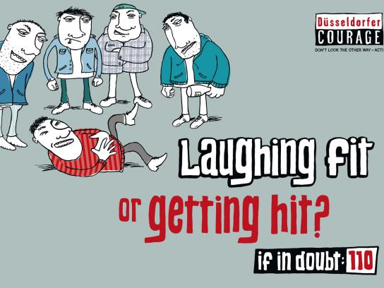 Duesseldorfer Courage Print Ad -  Laughing fit