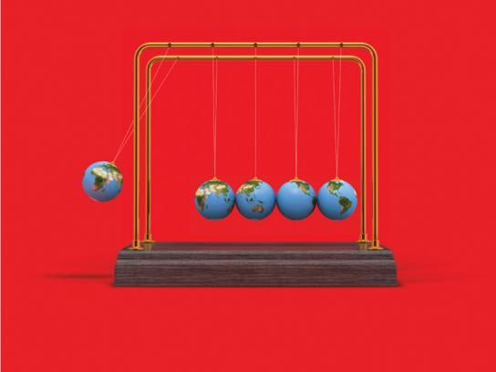 The Economist Print Ad -  Newton's Cradle