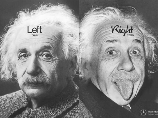 Mercedes Print Ad -  Left Brain Right Brain, Einstein