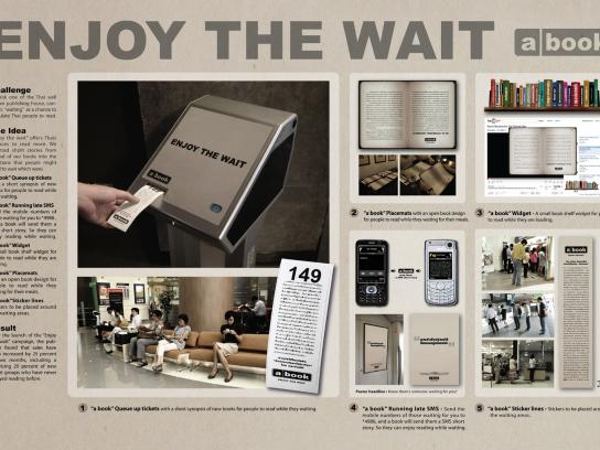 A book Ambient Ad -  Enjoy the wait