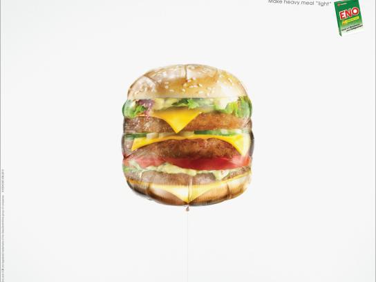 Eno Print Ad -  Food Balloon, Burger