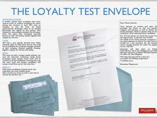 Delta Generali Direct Ad -  Loyalty test envelope