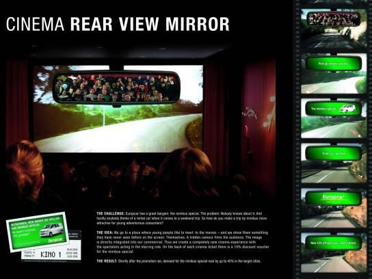 Europcar Ambient Ad -  Cinema Rear View Mirror