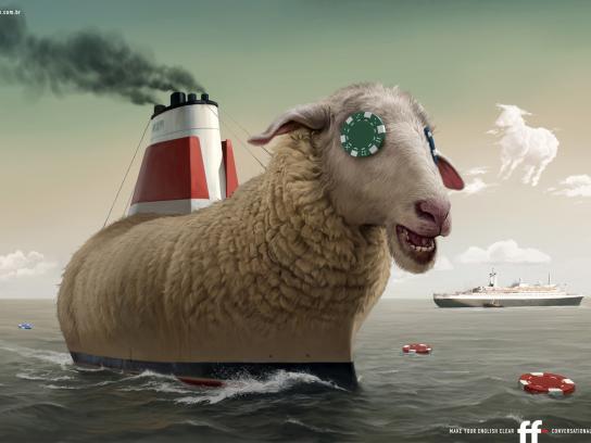 FF English School Print Ad -  Sheep, ship, chip