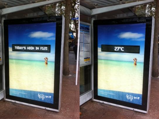 Tourism Fiji Outdoor Ad -  Fiji Temperature Adshel