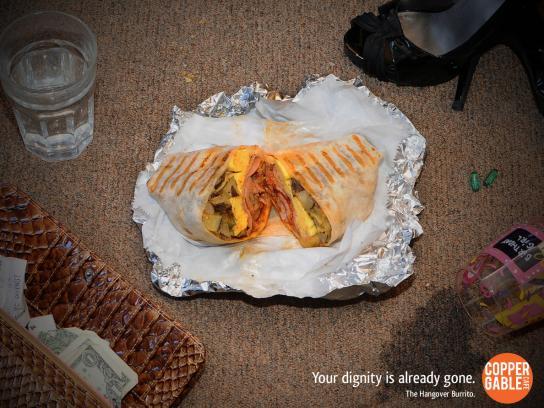 Copper Gable Cafe Print Ad -  Hangover Burrito, Floor