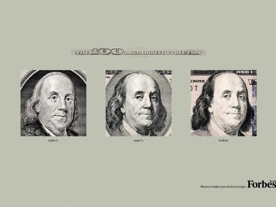 Forbes Print Ad -  The Evolution of the Dollar Bills, $100