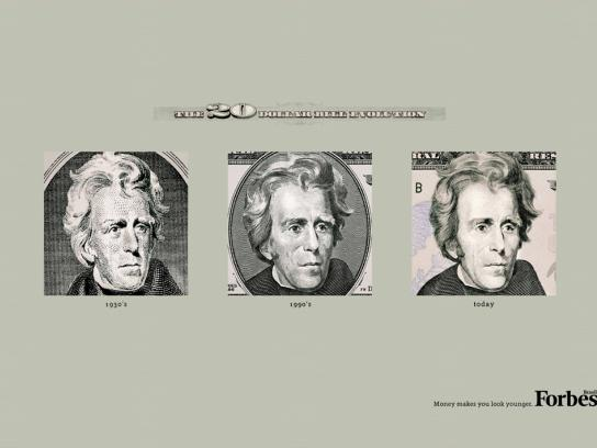 Forbes Print Ad -  The Evolution of the Dollar Bills, $20