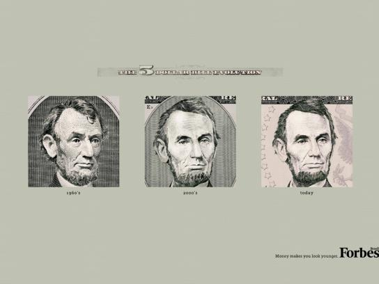 Forbes Print Ad -  The Evolution of the Dollar Bills, $5