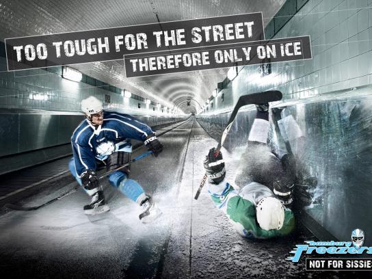 Hamburg Freezers Print Ad -  Only on ice, 1