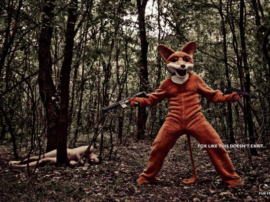 Fur Free Print Ad -  Angry fox, 1